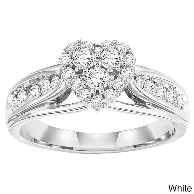 Cambridge 14k or Yellow Gold 5/8ct TDW Heart Diamond Ring