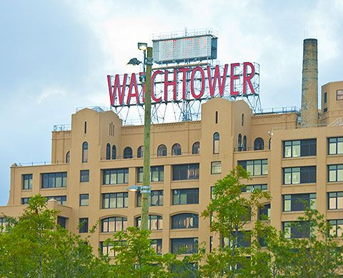 Watchtower Building in New York, a landmark over the many decades, as seen from the Brooklyn Bridge, the buildings are being sold and facilities moved to upstate New York.