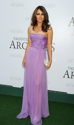 Elizabeth Hurley  Lovely lavender dress