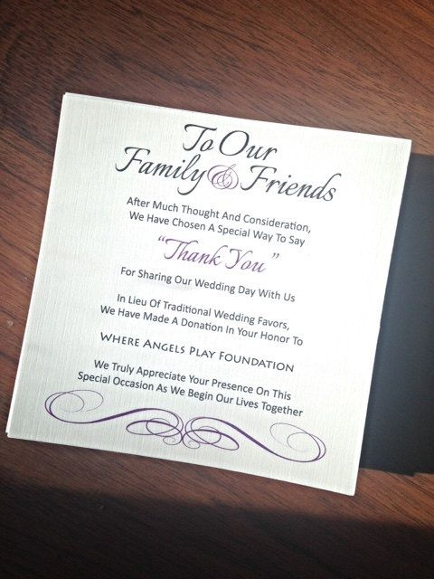 Wedding Favor Donation Card - In Lieu of Favors  These can be placed at each place setting or one at each table. Very easily framed as the sizes