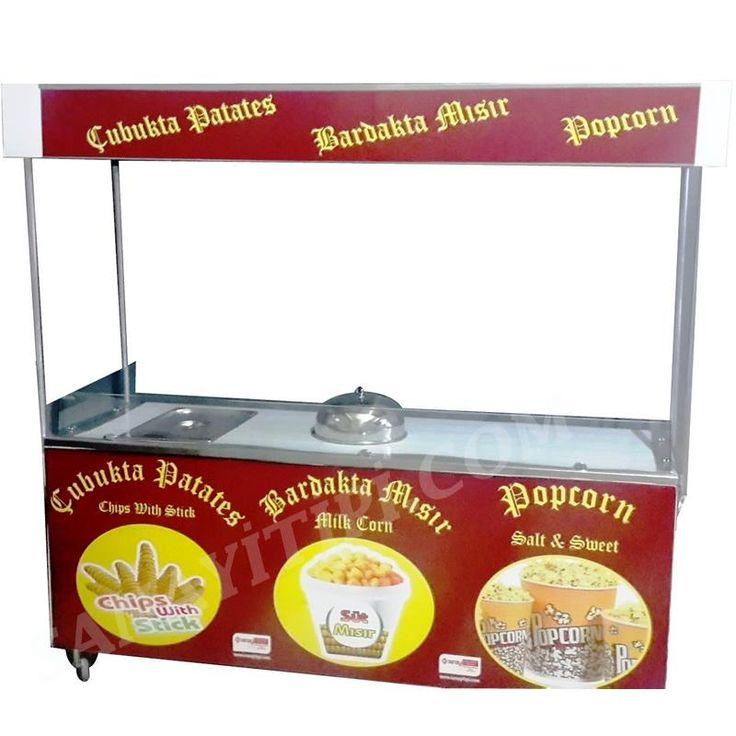 Çubukta Patates Bardakta Mısır Popcorn Standı » - Sanayi tipi