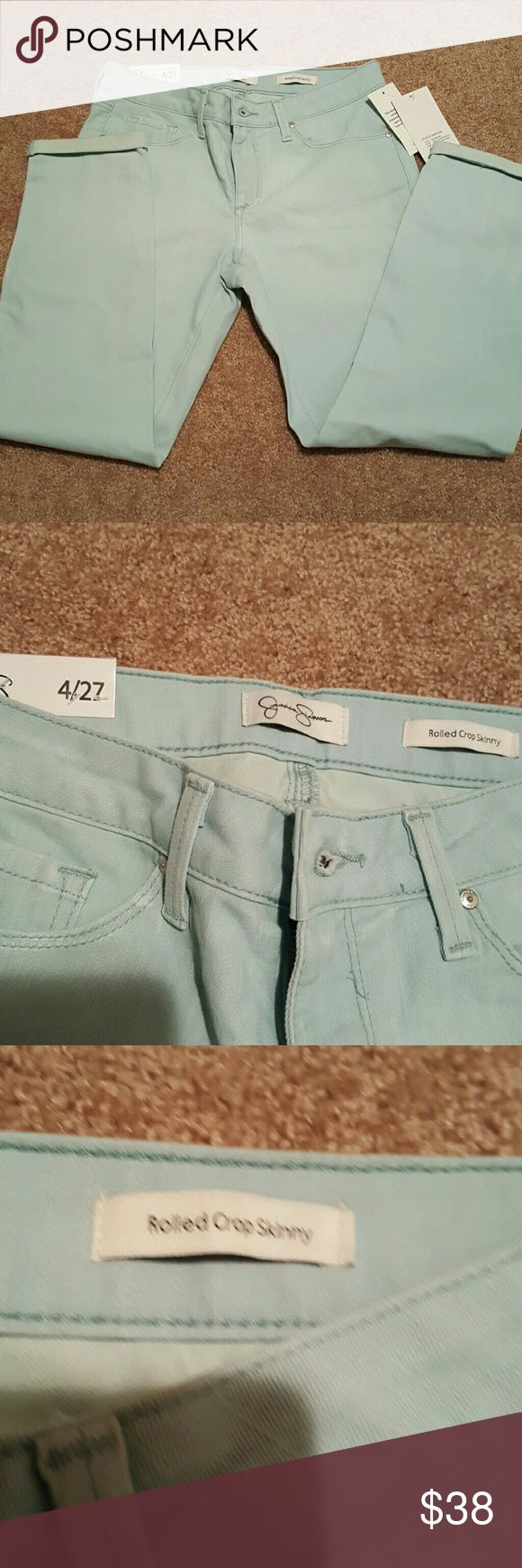 Rolled crop skinny jeans Jessica Simpson pale blue rolled crop skinny jeans. Very spring and summer ready. Had a lil give. New with tags. Jessica Simpson Jeans Ankle & Cropped