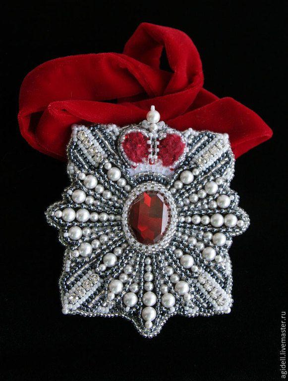 """Купить Брошь-орден """"Рубиновая звезда"""" - красный, рубин, брошь-орден, подвеска, императорские регалии"""