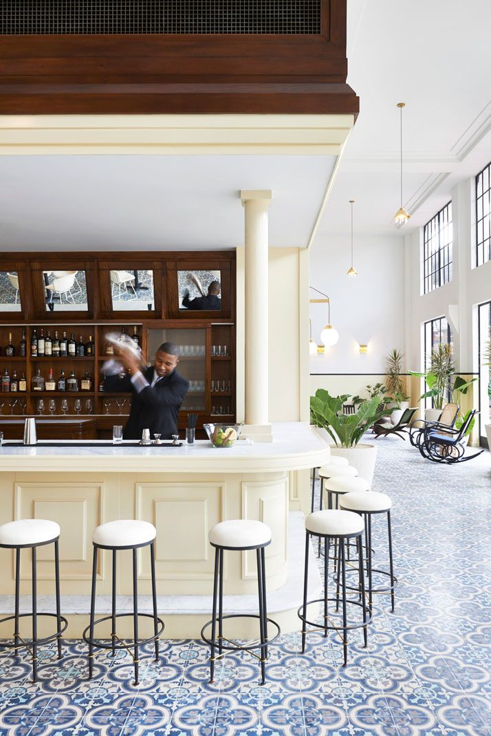 Found on @domainehome this Central American hotel -- use our Cluny tiles to do this in your home: http://www.granadatile.com/echo_catalogue.php?t=0&n=45#tile