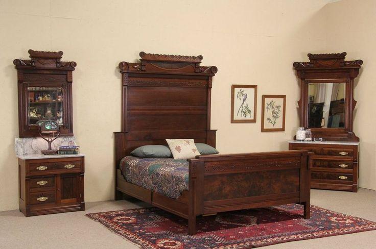 Victorian Eastlake 1885 Antique Queen Size Bedroom Set