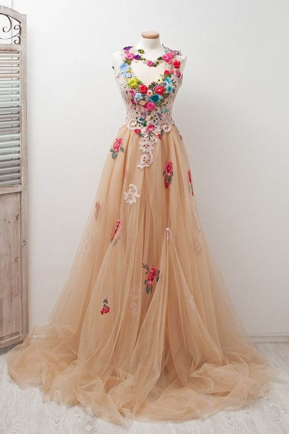 2c758e9ed10 A-line Scoop Sleeveless Open Back Appliques Tulle Prom Dress with Hand-Made  Flowers