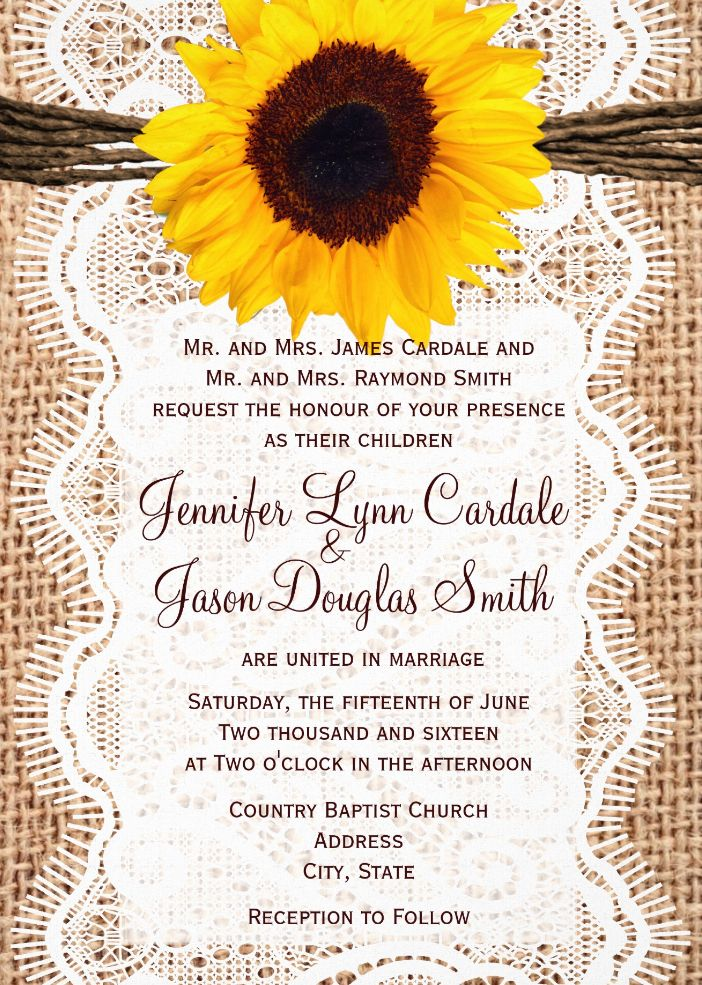 sunflower wedding invitations templates Josemulinohouseco