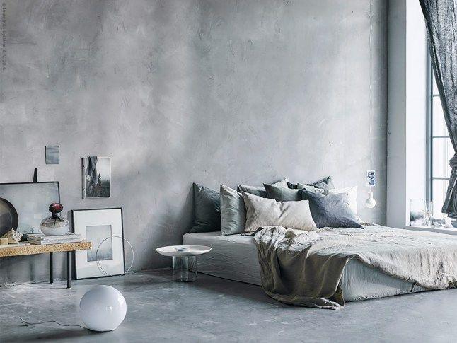 Slaapkamer met beton