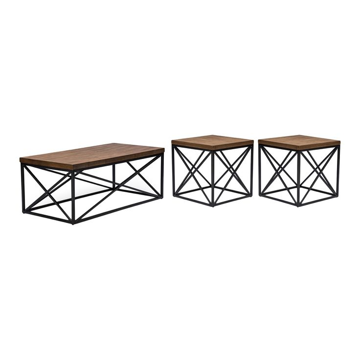 Holden Vintage Industrial Coffee Cocktail Table and End Tables 3-Piece Occasional Table Set - Antique Bronze - Baxton Studio, Brown