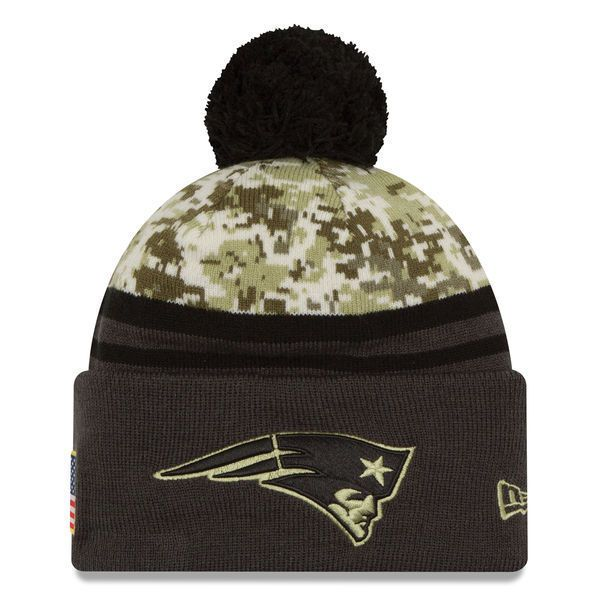 Men's 2016 NFL New Era Camo/Graphite Salute To Service Sideline Pom Knit Hat #NewEra