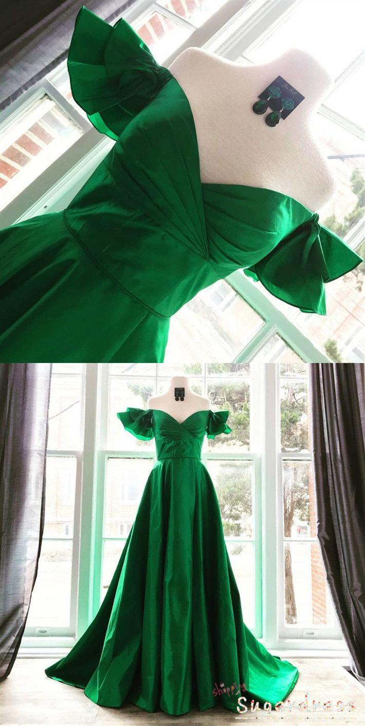 Elegant Off The Shoulder Sweetheart Green Prom Dress Green Prom Dress Prom Dresses Best Formal Dresses [ 1410 x 710 Pixel ]