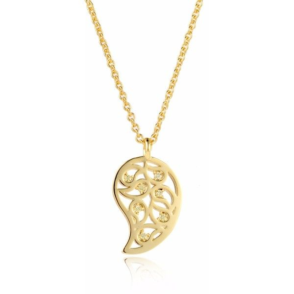 Sonal Bhaskaran - Reya Gold Paisley Necklace Yellow found on Polyvore featuring jewelry, necklaces, drusy pendant, yellow necklace, nickel free necklace, yellow gold pendant necklace and gold pendant