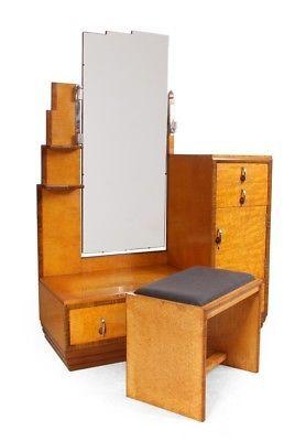 Art Deco Dressing Table and stool in Karelian Birch c1930 (755)