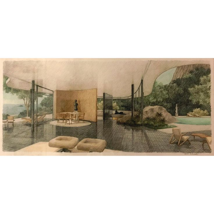 Glorious illustrations by Neco Stickel of #Niemeyer's designs - Casa das Canoas (1953). Several of his perspective drawings are displayed at an exhibit on the Museu de Casa Brasileira, until February the 18th, featuring very nice works by other modernist architects as well, such as Affonso Reidy, Rino Levi, Jorge Zalszupin and Paulo Mendes da Rocha.