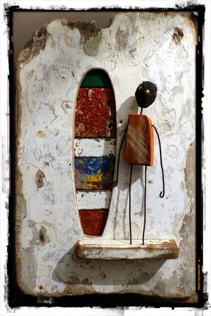 Surf art, driftwood, bois flotté