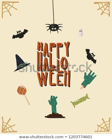 happy halloween card template design with cute simple cartoon style