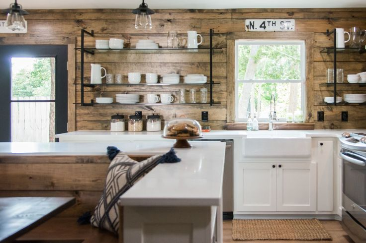 To give the kitchen the modern ranch feel, I decided a dark-stained shiplap with modern-style open shelving in place of uppers, which made for a balanced match.