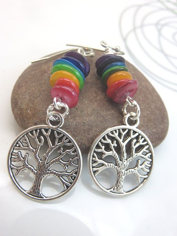 Seven chakra earrings  tree of life earrings  by GonzalezGoodies