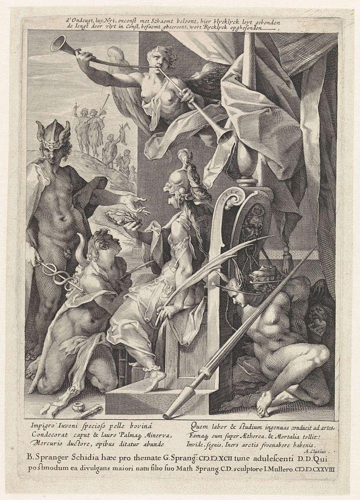 Mercurius leidt jonge kunstenaars naar Minerva, Jan Harmensz. Muller, Andreas Cludius, 1628