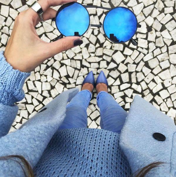 look monocromático azul