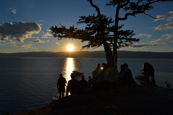 Watching the sun set on our last evening at Lake Baikal