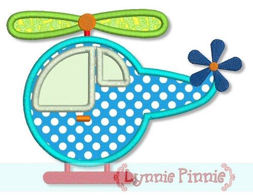 Helicopter Applique 4x4 5x7