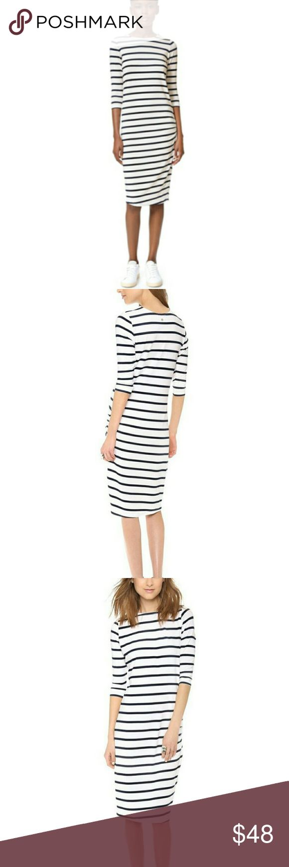 Eleven Paris Stripped Dress Great dress! It is the softest material ever! It has stripes they look black but it says they are navy so I will say dark navy stripes. It has ruching around the hips. Simple basic dress but super cute, easy and a must have closet staple! Eleven Paris Dresses
