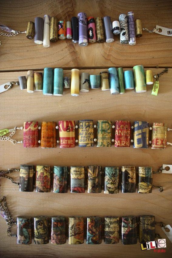 Paper bead bracelets