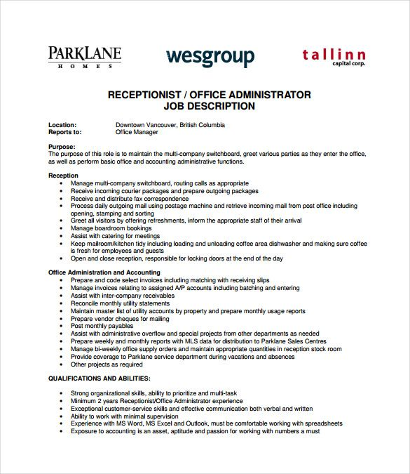 Office Administrator Job Description Office Administration Job Description Template Job Description