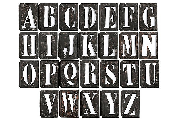 26 7 1 2 x 11 metal stencil punch letters 910 retail for Punch letters into metal