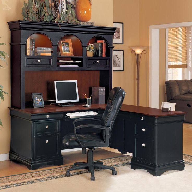 L Shaped Office Desk With Hutch For Home   Living Room Wall Decor Sets  Check More