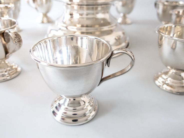 Vintage Silver Plate Punch Bowl Set With 12 Cups Ladle And