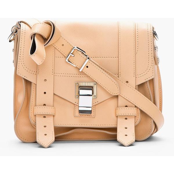PROENZA SCHOULER Sorbet & Black Leather Ps1 Pouch Shoulder Bag ($1,650) ❤ liked on Polyvore