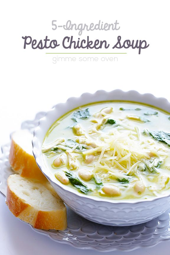 This 5-Ingredient Pesto Chicken Soup is super easy to make, and full of the most amazing flavors of fresh pesto!