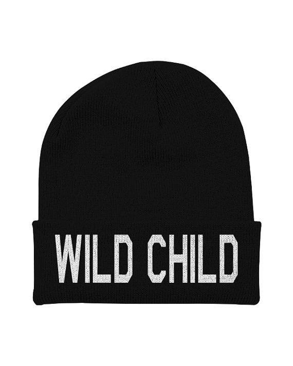 Word Beanie  Wild Child  Hipster Beanies  Black by CharlieParty, $15.00