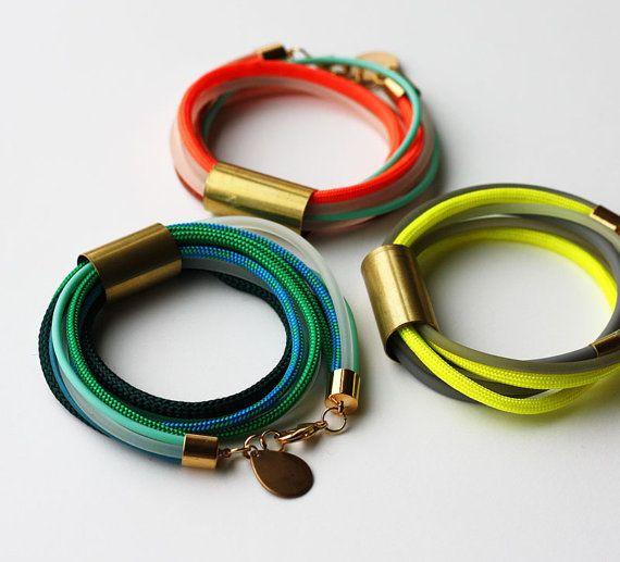 Neon Bracelet  Rope Bracelet   Wrap Bracelet  von feltlikepaper, $22.00