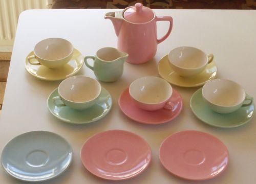 Geschirr Retro = details zu melitta geschirr grün blau rosa gelb 50er jahre
