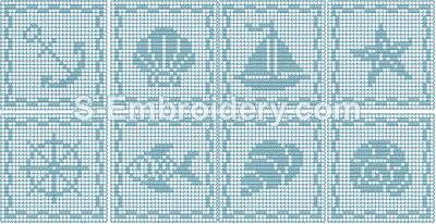 Marine  freestanding lace crochet squares