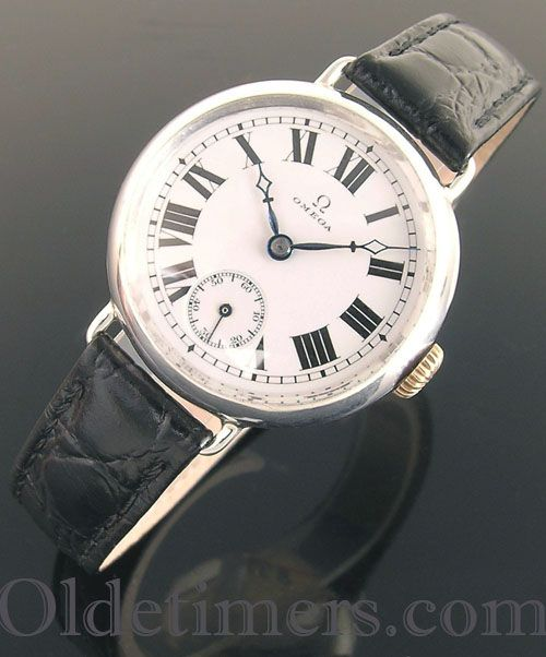 1914 silver round vintage Omega 'Trench' watch