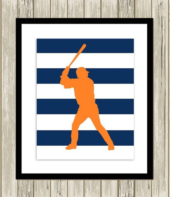 Baseball wall art, teen boys art, sports art, boys wall art, dorm room poster, college boy, custom colors