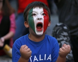 Look at that little guy, Such passion for his team!   Italy soccer fan
