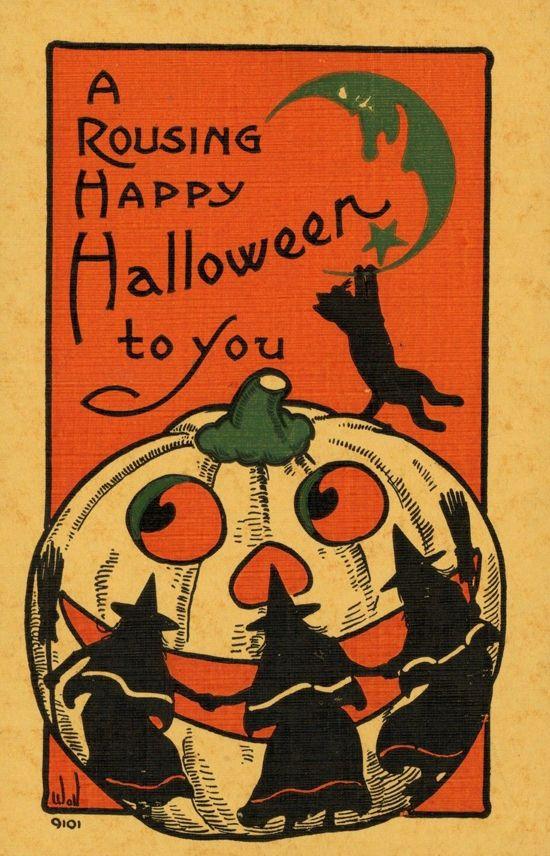 vintage holiday vintage halloween halloween witches printable art vintage postcards art nouveau art deco comic book cat - Vintage Halloween Witches