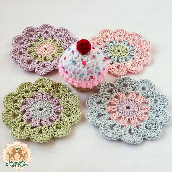 These pretty crochet coasters are perfect to add to your tea party table.   A lovely home decor item.   Crochet Coasters Coasters Flower Coasters Crochet Table