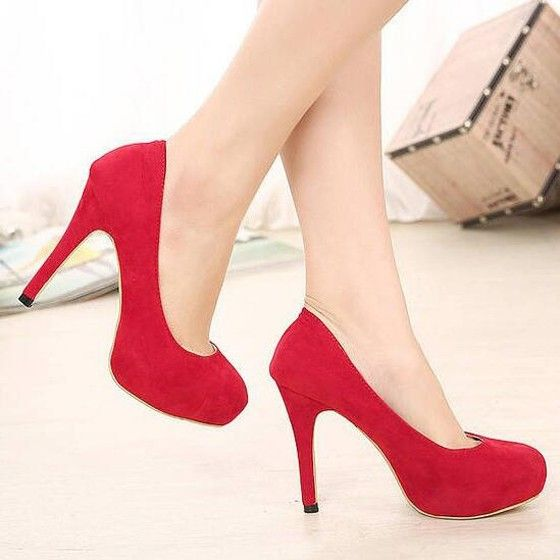 Red Point Toe Stiletto Ankle Heels
