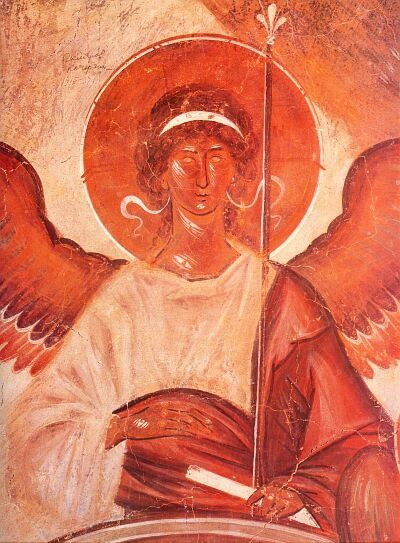 Theophanes the Greek. The Hospitality of Abraham (Old Testament Trinity). Fresco of Spas na Ilyine Church (The Church of Transfiguration of Christ) in Novgorod. 1378