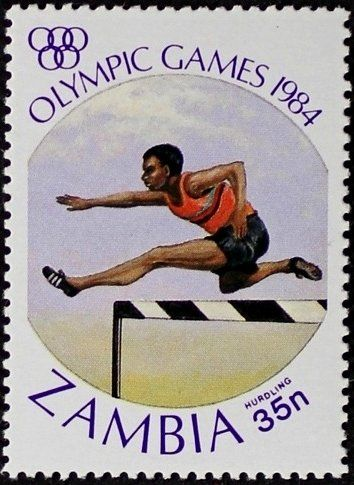 Stamp: Hurdling (Zambia) (Olympic Games Los Angeles) Mi:ZM 316,Sn:ZM 306,Yt:ZM 304,Sg:ZM 410