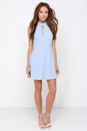 Pretty Periwinkle Dress - Halter Dress - Sleeveless Dress - $39.00