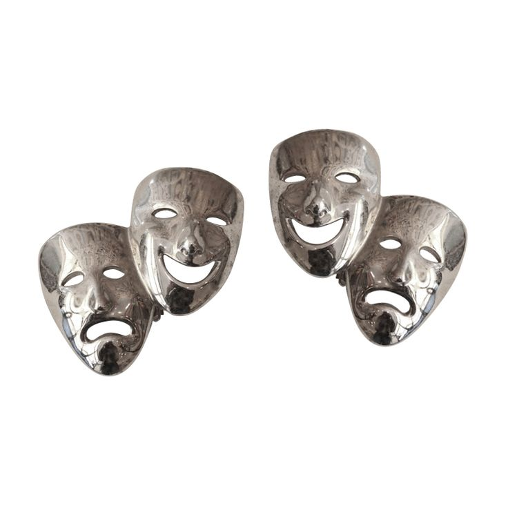 Vintage Butler & Wilson Silver Tone Mask Clip-On Earrings c. 1970