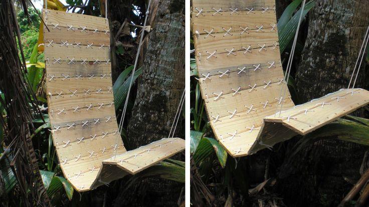 Un fauteuil en palettes suspendu