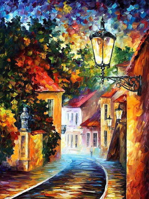 """Noche — cuchillo de paleta paisaje pintura al óleo sobre lienzo de Leonid Afremov - tamaño: 30 """"x 40"""" (75 cm x 100 cm)"""